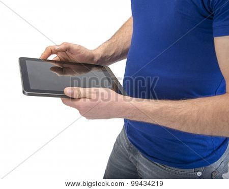 Manual worker pointing on tablet PC with his dirty hands isolated on white background.