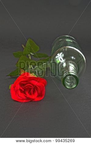 Red Rose With Empty Bottle On A Black Background