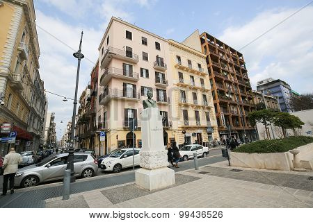 Statue Of Cesare Battisti In Bari, Italy