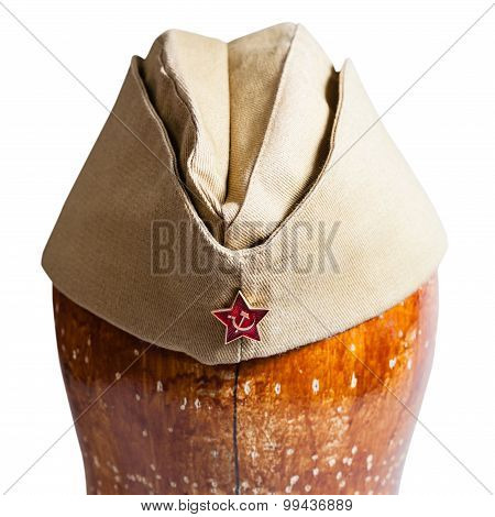 Military Garrison Cap With Soviet Red Star Sign