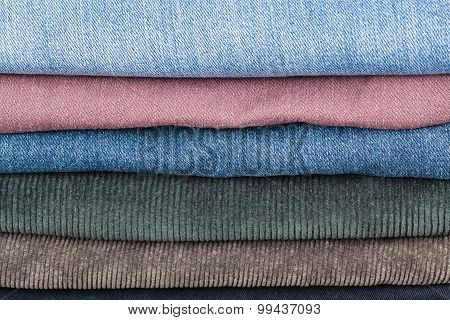 Stack Of Different Denims Close Up