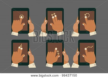 Multitouch gesture hands with tablet mockups