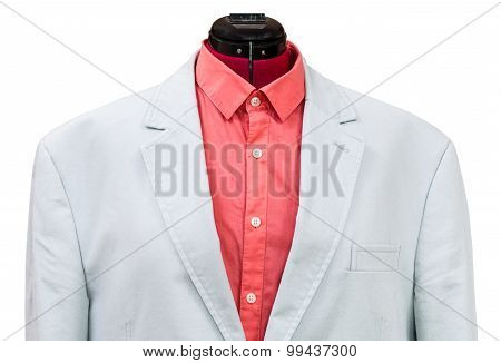 Blue Cotton Jacket With Red Shirt Close Up