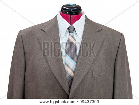 Green Woolen Jacket With Shirt And Tie Close Up
