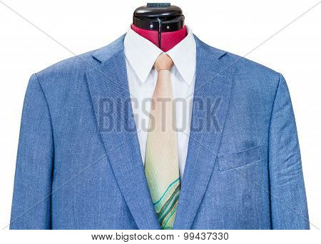 Blue Silk Jacket With Shirt And Tie Close Up