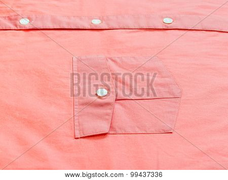 Buttoned Pocket Of Red Shirt