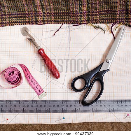 Cutting Table With Fabric, Pattern, Tailoring Tool