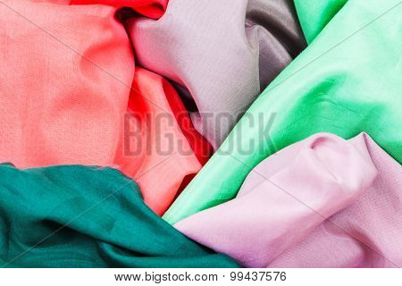 Several Pieces Of Silk Batiste Fabrics