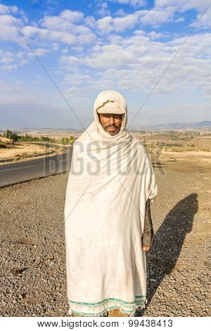 Ethiopian Man Standing By The Road
