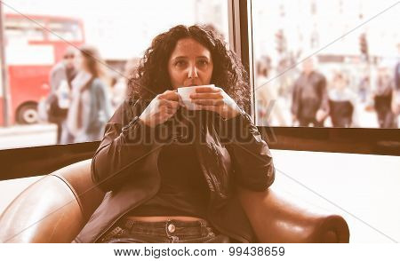 Retro Look Pretty Brunette Drinking Coffee Tea