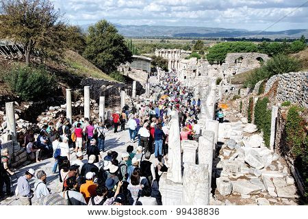 Tourists visit the archaeological ruins of the Ionian city of Ephesus, Turkey