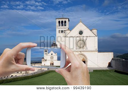 Taking Picture Of The Assisi (umbria, Italy)