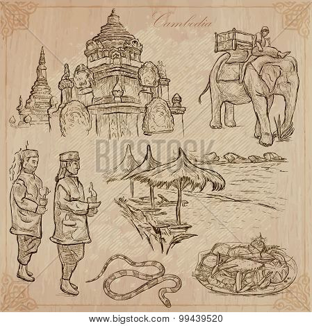 Kingdom Of Cambodia - Hand Drawn Vector Pack