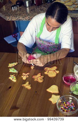 Housewife Preparing Christmas Cookies At Home