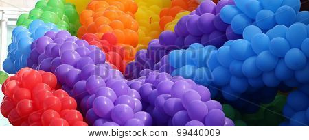 Huge bunch of colorful balloons