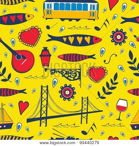 Seamless pattern with traditional portuguese elements