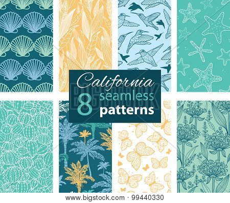 Vector California Nature Eight Set Seamless Pattern. Hummingbird, scallop seeshell, palm tree