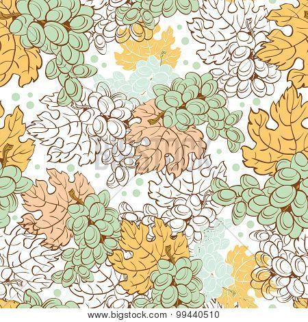 Vector Fall Grapes Harvest Seamless Pattern. Wine pastel leaf. Ripe fruit.