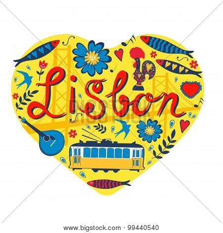 Travel concept card. Illustration of love for Lisbon