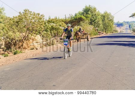 Cyclist On The Road In Ethiopia