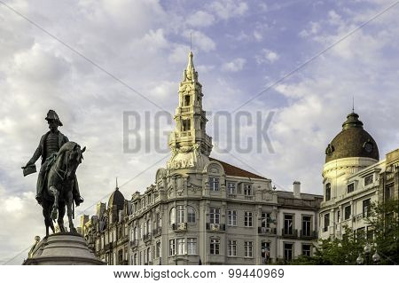 Porto, Portugal - July 04, 2015: Monument Of King Pedro Iv Statue