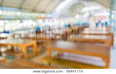 Image Of Blur Cafetaria With Open Space
