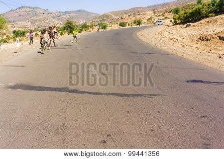 Ethiopian Children On The Road.