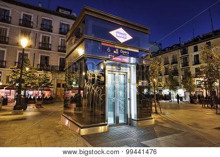 Elevator entrance to Metro station, Madrid