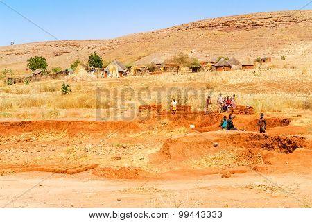 Man Making Bricks In Sudan