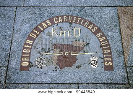 Kilometre zero sign, Madrid, Spain