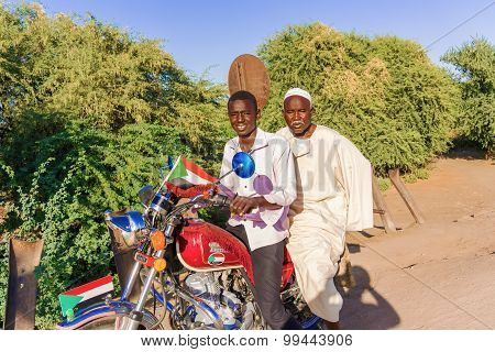 Two Man On Motorbike In Sudan.