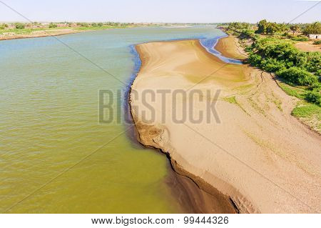 View At Blue Nile River From The Bridge In Wad Madani