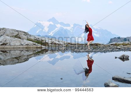 Girl Dancing On Artist Point, Mt. Baker, Washington