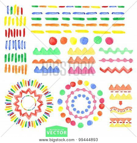 Watercolor geometric brushes set.Baby style