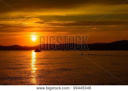 Sun reflection on the sea surface at sunset