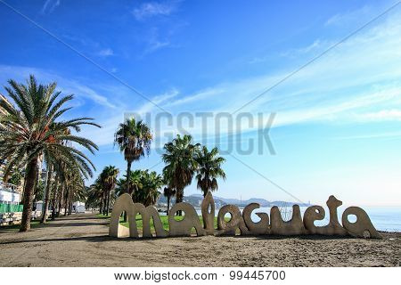 Malagueta Beach entrance sign, Malaga, Spain