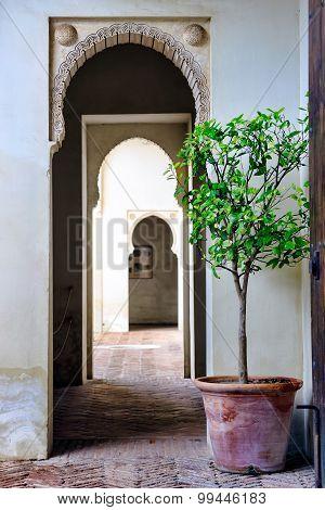 Moorish styled door entrance in Alcazaba of Malaga, Spain