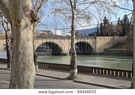 Dry Bridge over the River Kura (Mtkvari) in Tbilisi. Georgia