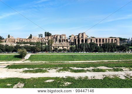 View of Circus Maximus and Palatine Hill, Rome, Italy