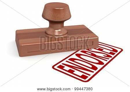 Wooden Stamp Endorsed With Red Text