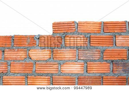 Closeup Brick Wall, Isolated On White Background