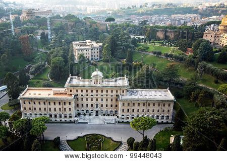 the Palace of the Governorate of Vatican, View from the dome of St. Peter's Basilica, Rome, Italy