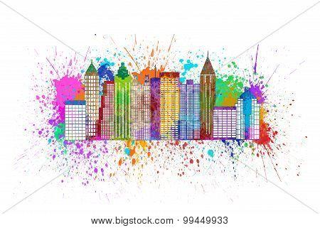 Atlanta Skyline Paint Splatter Color Illustration