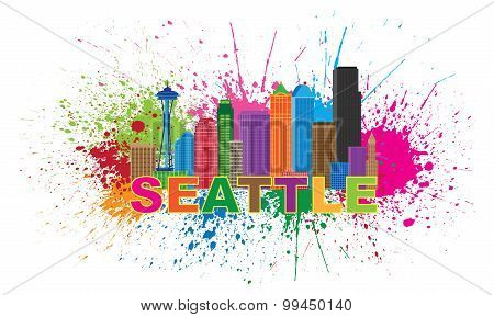 Seattle City Skyline Paint Splatter Illustration