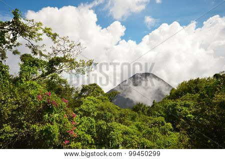 The perfect peak of the active and young Izalco volcano seen from one of the view points