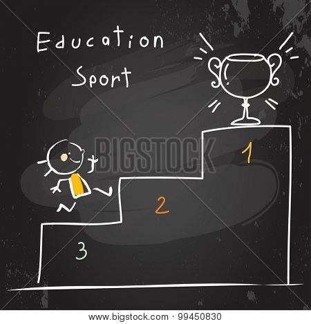 Successful Kid running, winning first place, cup. Chalk on blackboard doodle style education concept vector illustration.