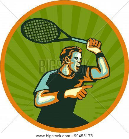 Tennis Player Racquet Circle Retro