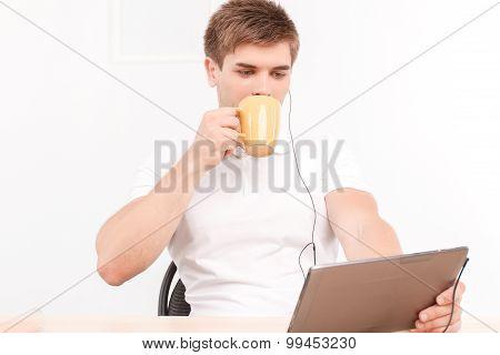 Man talking via skype on the tablet