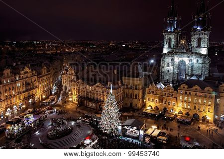 Old Town Square with Christmas Tree, Prague, Czech Republic