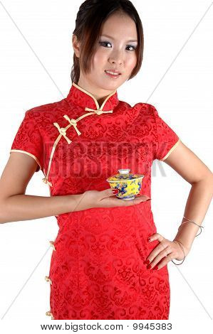 Chinese Girl With Tea Cup